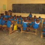 Besali students inside new school